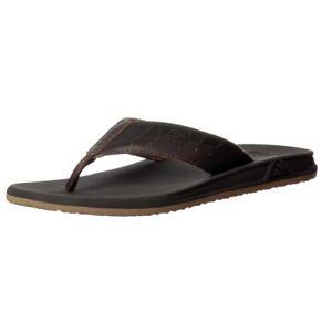 72bf659e0bcb Mens Reef Phantom Le Flat Flip Flop Leather Beach Sandal Brown Size ...
