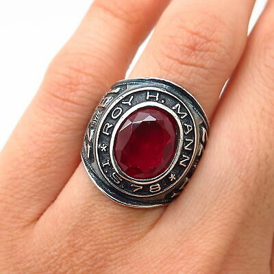 Vintage Cancer Ruby Ring 925 Sterling Silver RG 1928-E