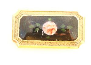 BROOCH-vintage-gold-tone-metal-lacquer-insert-Victorian-style