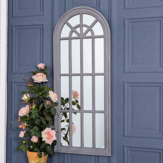 Arched Grey Large Wall Mirror Shabby Vintage Chic Hallway Window 120cm x 50cm