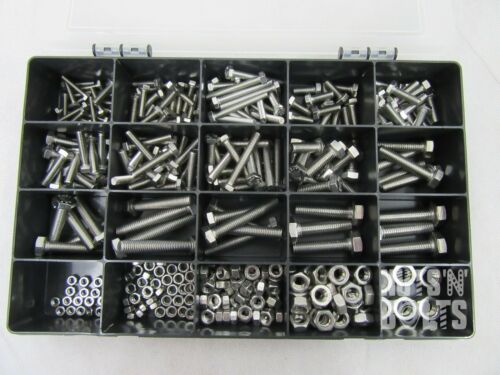 A2 - 70 Assorted Box kit M4,M5 M6 M8 M10 Nuts And Bolts Setscrews A2 Stainless