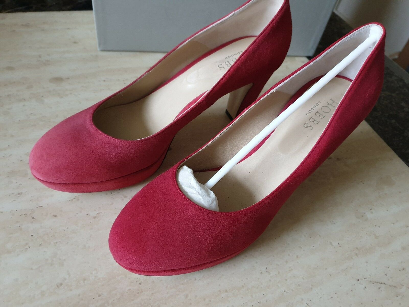Hobbs Nicola Cour Chaussures Talons Rose Pétale Rouge Taille UK 6 EUR 39 USA 8
