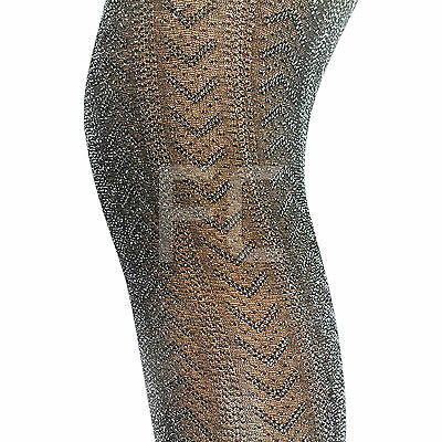 New Womens Ladies Silver Glitter Glittery Sparkly Tights Pantyhose Party Size Schnelle WäRmeableitung