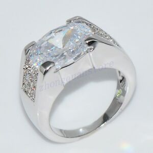 Fat Silver Zircon Engagement Band Ring Women 39 S 10Kt White Gold Filled Siz