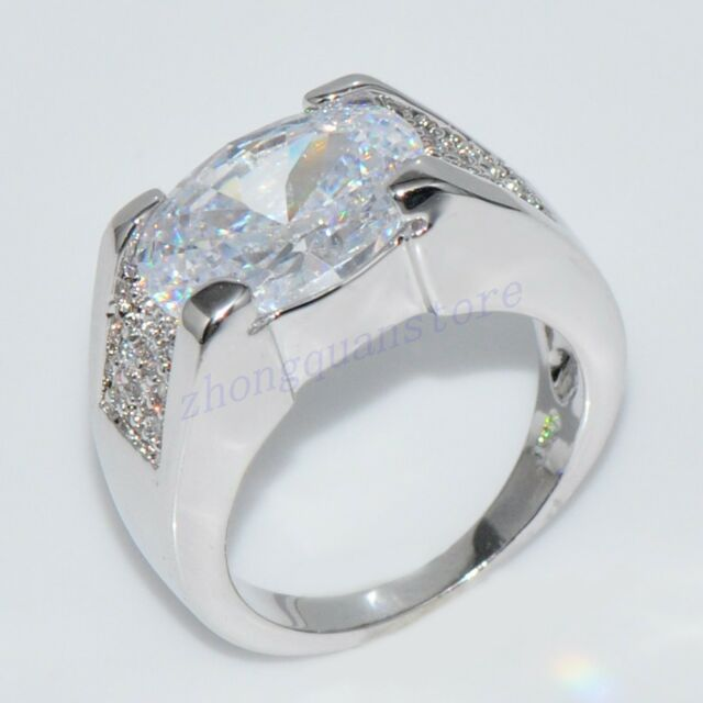 Jewelry Fat CZ Ring Size 12 White Women's Crystal 10Kt White Gold Filled Wedding