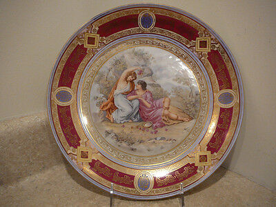 S2 ANTIQUE ROYAL VIENNA PORCELAIN CABINET PLATE CHARGER NEOCLASSIC SCENE BEEHIVE