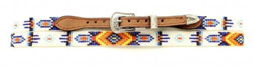 M/&F Western Hatband Mens Beaded Southwest White Blue 0251244