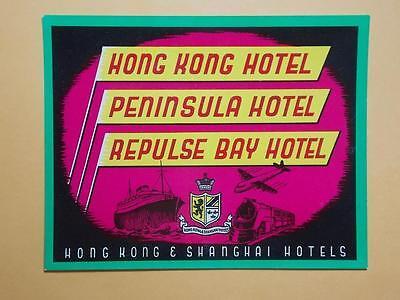 """Honesty Hong Kong 1930's """"hong Kong Hotel Peninsula Hotel"""" Luggage Label Rare Collectibles"""