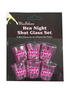 SHOT-6PACK-6-x-Hen-Night-Party-Bride-to-Be-Fun-Drinking-Game-Hot-Pink-Glasses