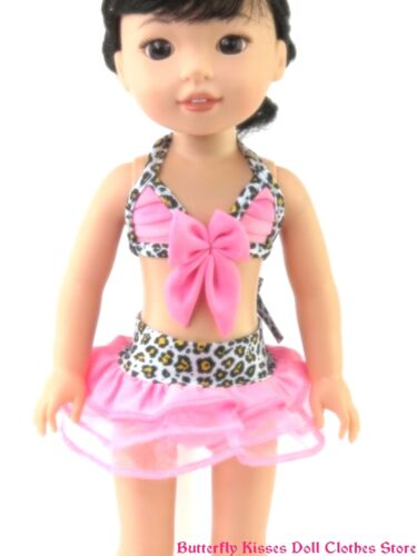 "Animal Print Pink Trim Bikini 14/"" Doll Clothes Fit American Girl Wellie Wishers"