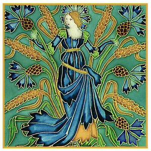 Walter Crane Flora/'s Retinue Poppies Counted Cross Stitch Chart Pattern