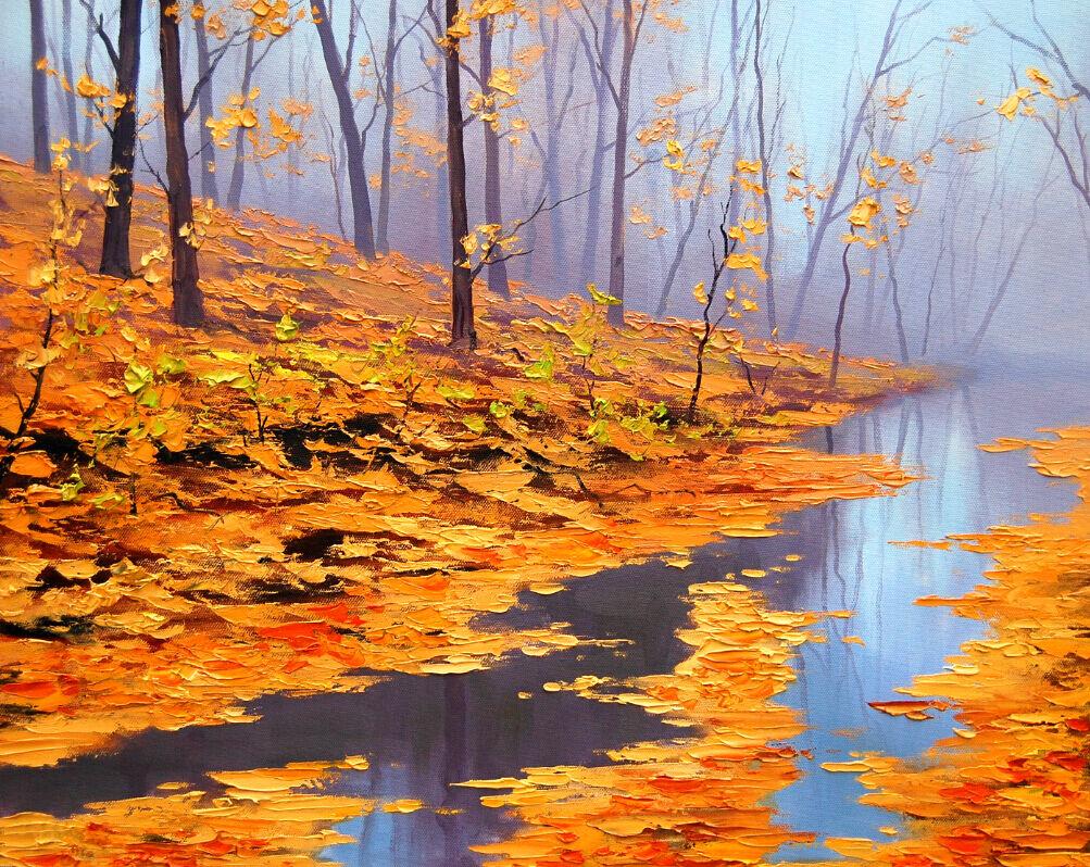 3D Fluss gelbe Blätter 878 Fototapeten Wandbild Fototapete BildTapete Familie DE