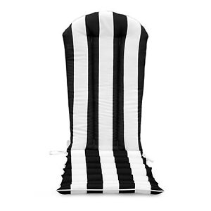 Black White Striped Outdoor Patio Adirondack Chair Cushion