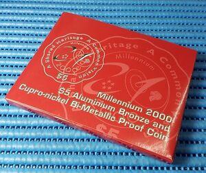 2000 Singapore Millennium $5 Al Bronze & Cupro-Nickel Bi-Metallic Proof Coin