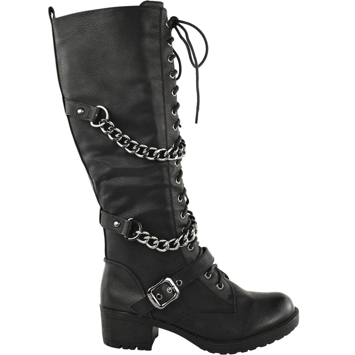 Señora arriba las rodillas wadenlang con cordones Biker punk punk Biker combate botas zapatos militar 3f631d