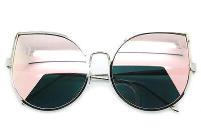 Cat Eye Oversized Women Sunglasses Large Metal Frame Pink Gold Mirrored Lens