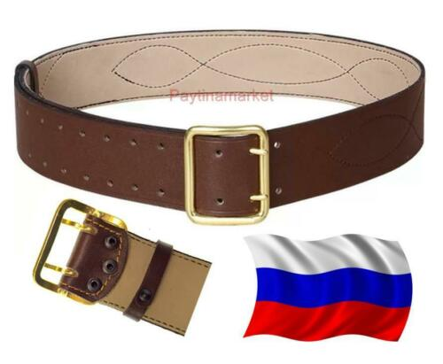 Soviet Military USSR Russian Belt Army Officer form Brown Leather Brass Buckle
