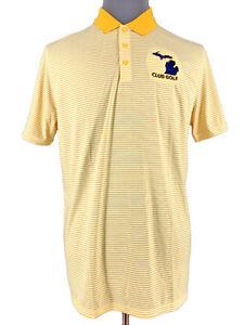 Nike-Golf-Mens-Dri-Fit-Short-Sleeve-Yellow-Michigan-Golf-Polo-Shirt-Size-Large