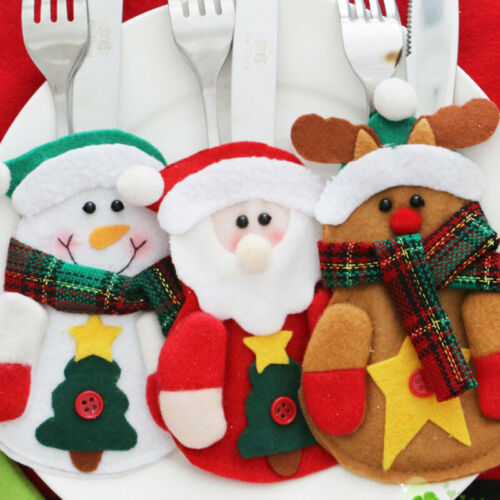 6Pcs Christmas Dinner Cutlery Holder Fork Cover Bag Pocket Xmas Table Decoration