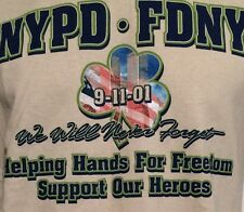 """NYPD FDNY 9-11-01 """"WE WILL NEVER FORGET"""" """"SUPPORT OUR HEROES"""" USA T-SHIRT LG"""