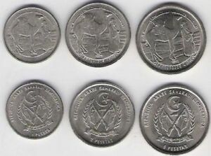Saharawi-Arab-1992-3-coin-set-1-2-5-Pesetas-West-Sahara-Beduin-Spain-Camel-UNC