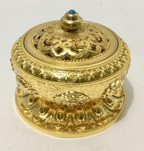 Govinda Small Decorated Brass Charcoal Screen Incense Burner with Wooden Coaster Govinda®