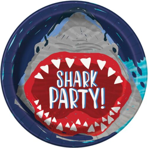 Banners UQ Balloons /& Decorations SHARK PARTY Birthday Party Tableware 1C