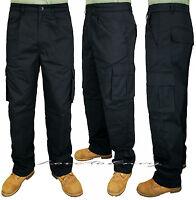 Mens Work Trousers 6 Pocket Heavy Duty Black Combat Cargo Trouser Pants W30-W46.