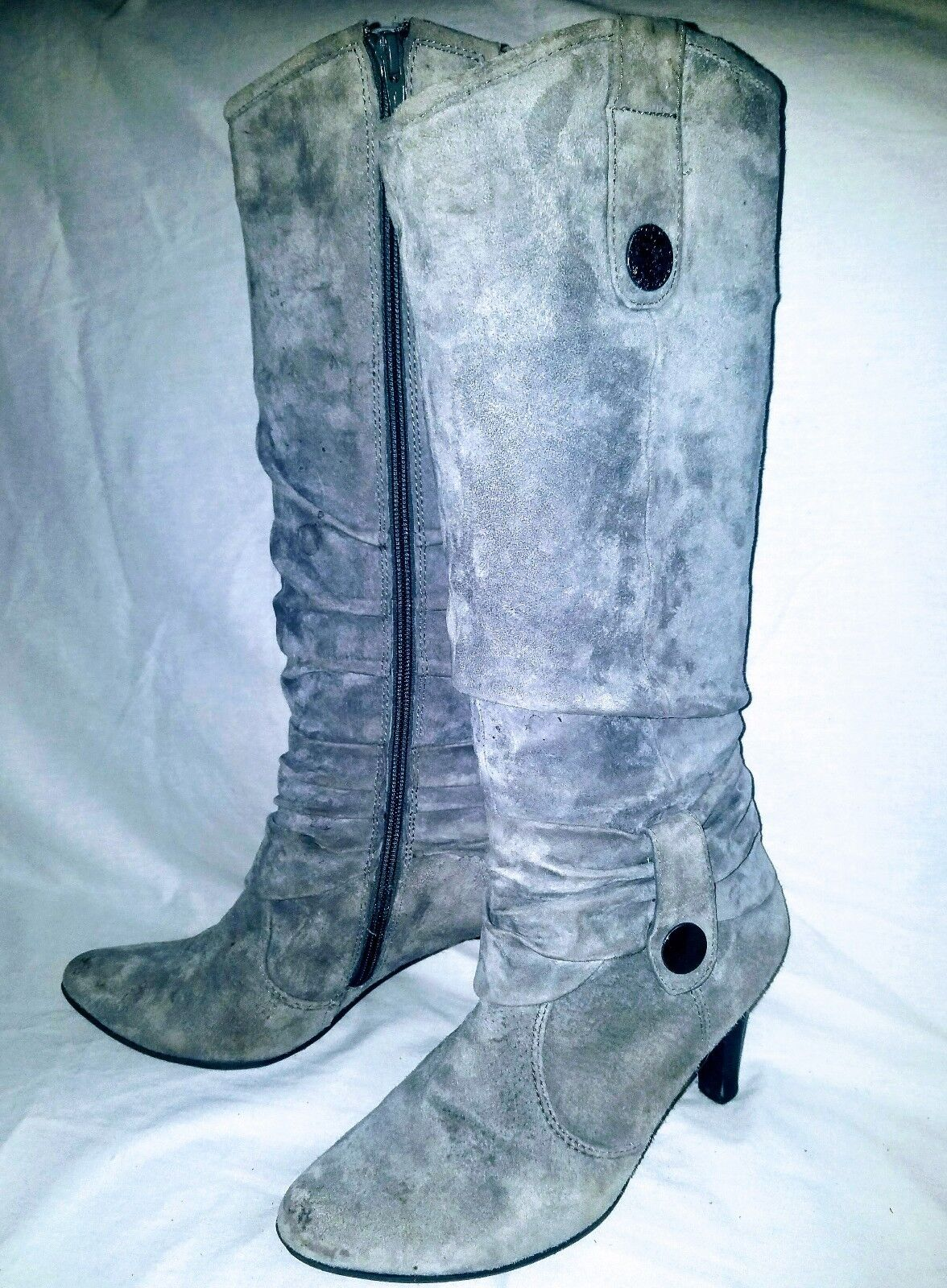 Women's Sz 7 MBlake Scott Grey Suede with Brass Buttons Leather Knee High Boots