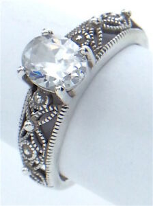 Vintage-Women-Ladies-Size-8-75-US-Cubic-Zirconia-Stone-Sterling-Silver-Ring-G573