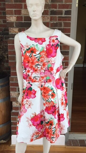 NWT Eliza J Sz 22W Pink Green Floral Fit and Flare Sleeveless Lined Dress NEW