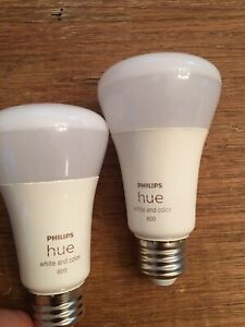 2 Philips Hue White and Color Ambience Bluetooth A19 Bulbs
