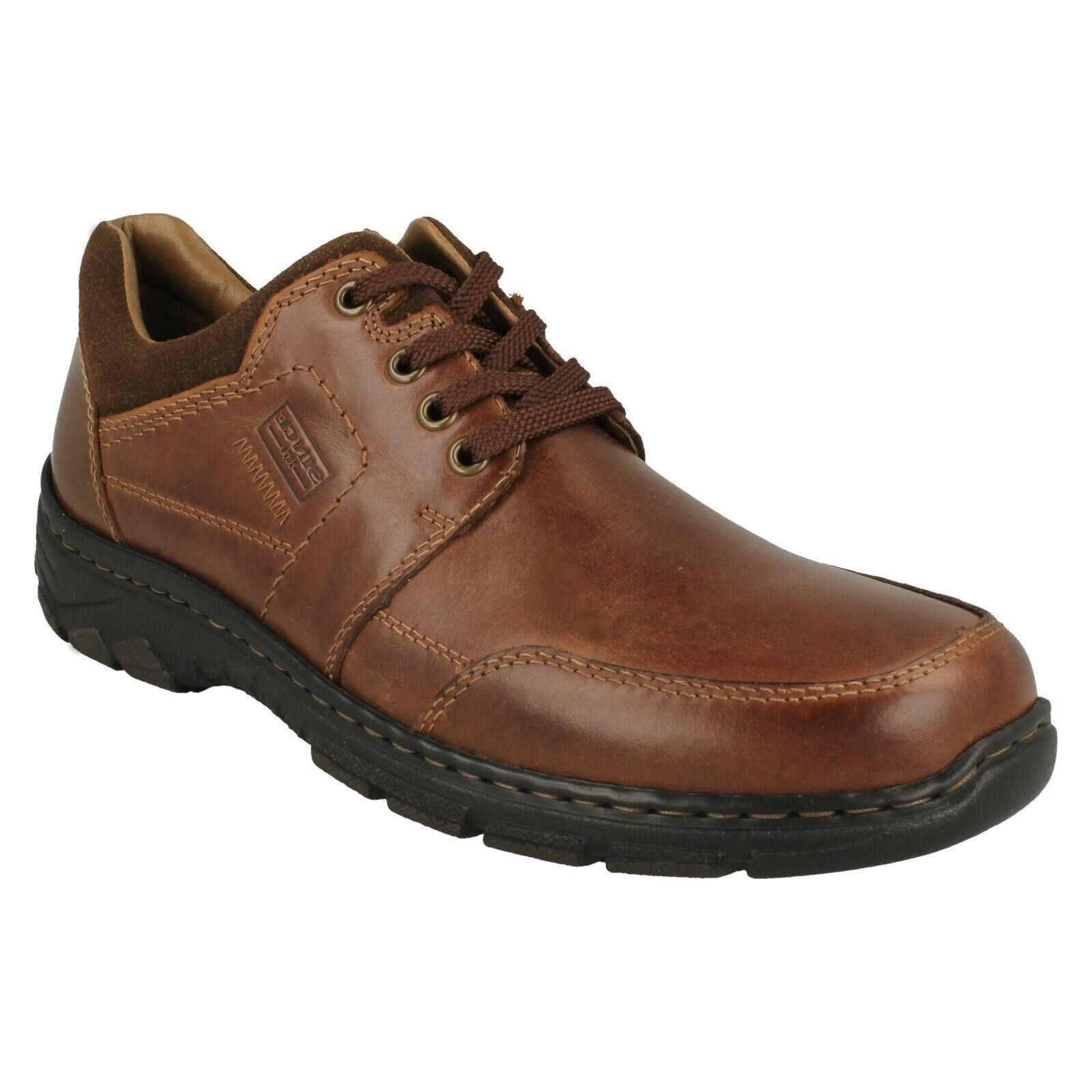 MENS RIEKER braun LEATHER LACE UP CASUAL EVERYDAY WORK OFFICE schuhe Größe 19911
