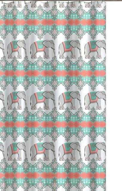 Buy Bonbay Elephant Fabric Shower Curtain Fun Elegant Orange Coral