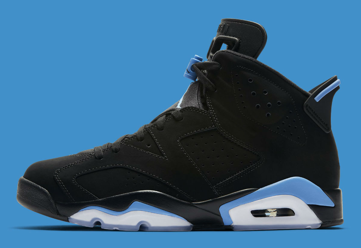 2017 Nike Air Jordan 6 VI UNC Retro Black University Blue Size 9. 384664-006.