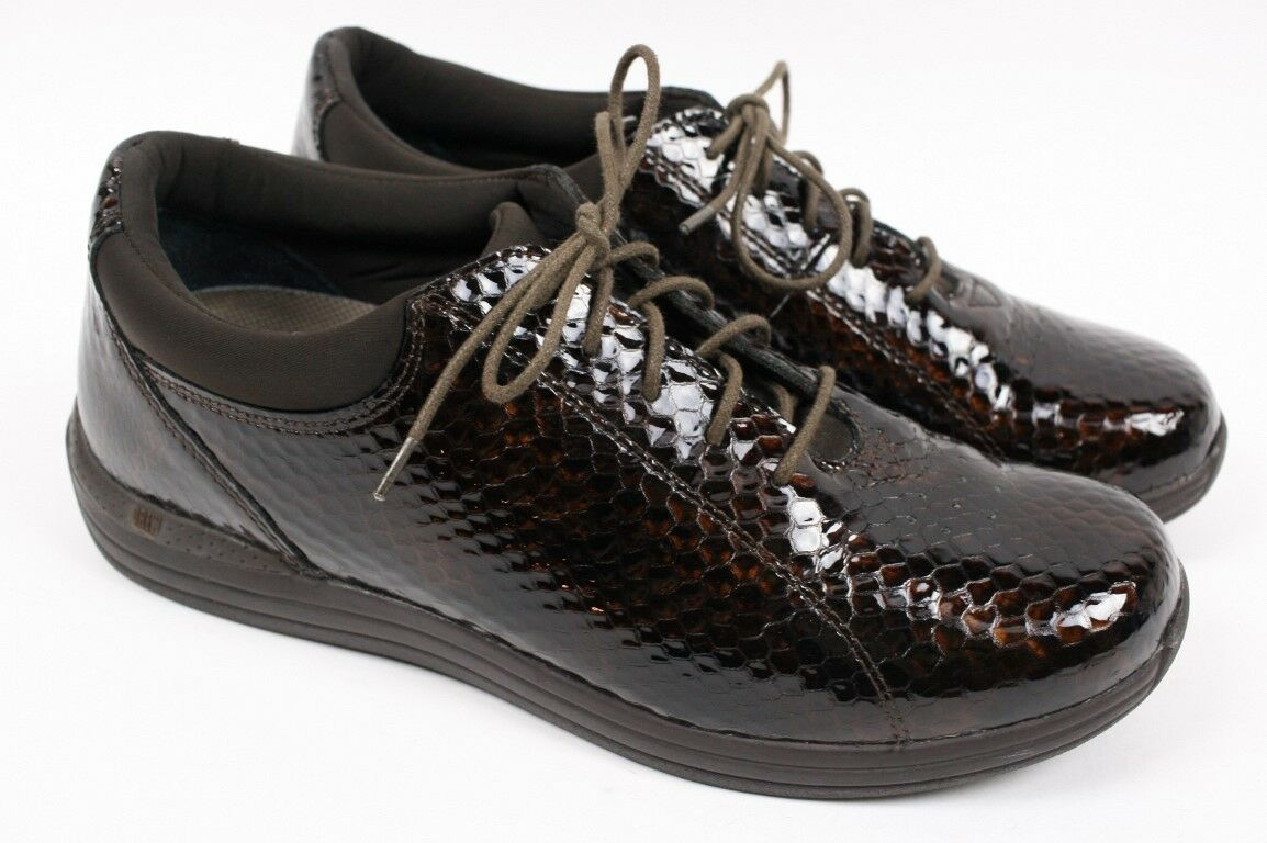 DREW Tulip Brown Snakeskin Print Leather Lace up Oxford Walking shoes Women 11 N