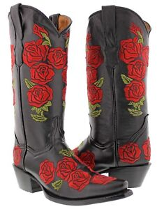 Details about Womens Black Rose Floral Embroidered Leather Cowgirl Boots Western Snip Toe