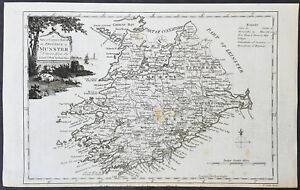 1782-T-Condor-Original-Antqiue-Map-Munster-County-Ireland-Galway-Bay-to-Cork