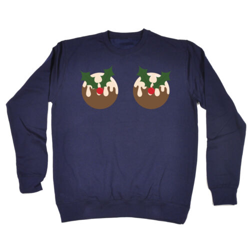 Christmas Pudding Boobies SWEATSHIRT Boob Breats Joke Funny Present Xmas