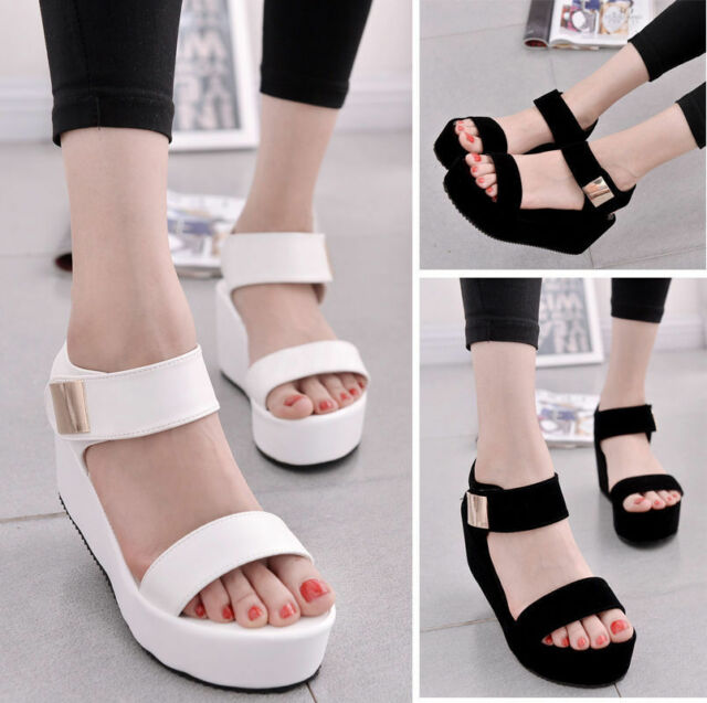 Women Summer High Platform Sandals Ankle Strap Flat Open Toe Casual Shoes
