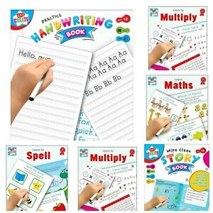 Kids-Wipe-Clean-Educational-Fun-Learning-Books-Writing-Spelling-Maths-Numbers