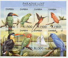 Zambia 2000 MNH Exotic Birds Paradise Lost 8v MS I Aracari Parrots Macaws Stamps