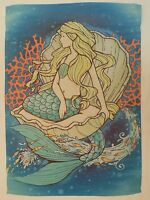 Mermaid Sits In Clam Shell Surrounded By Orange Coral & Rush Of Fish Garden Flag