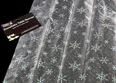 "Stunning Silver Snowflake Christmas Table Runner 58""x 16"" Approx (DP55) B"