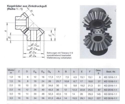 Kegelzahnrad // Kegelzahnradsatz Zinkguss Modul 1.0 Übersetzung 1:1