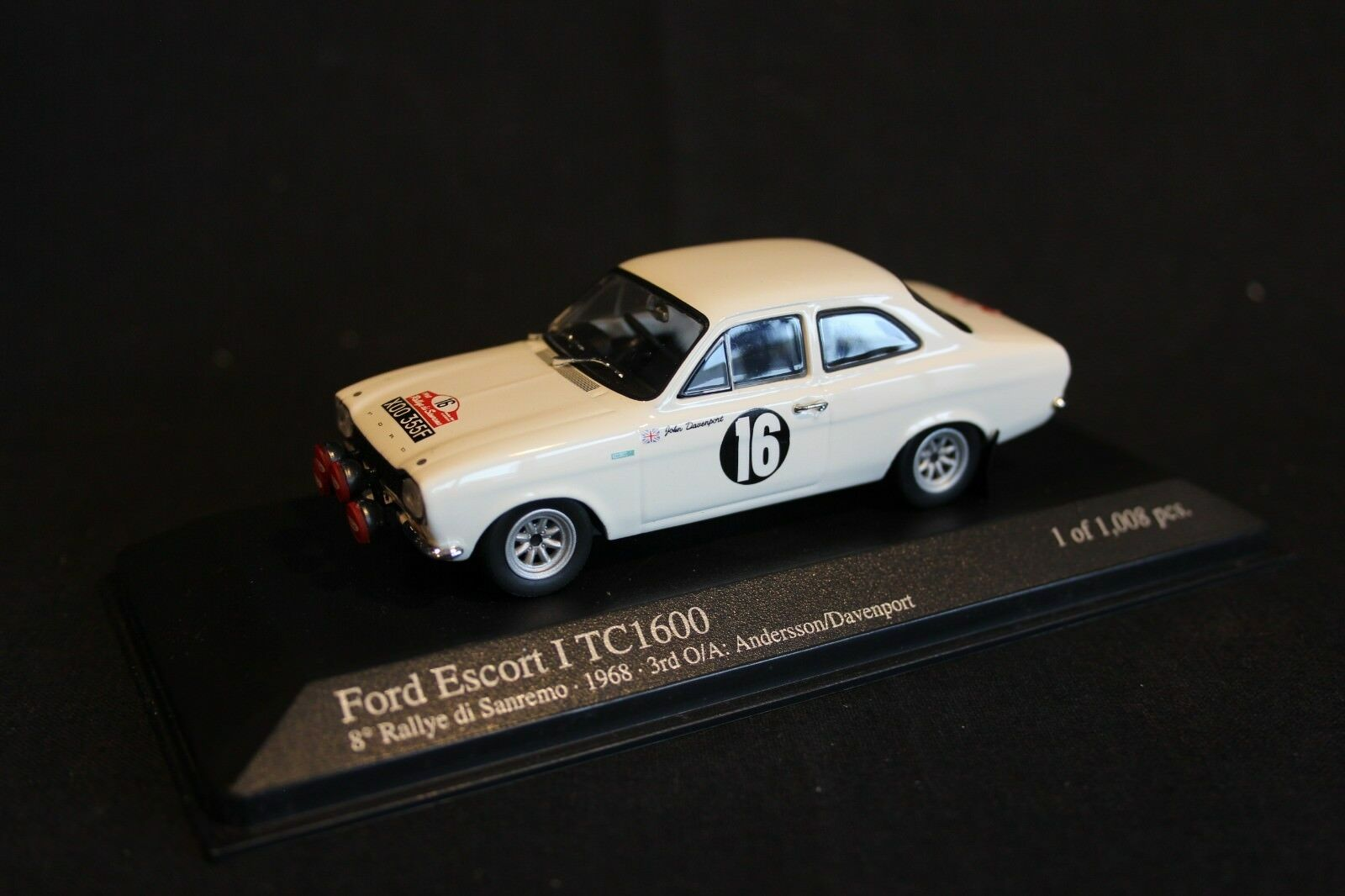 protección post-venta Minichamps Ford Escord Mk1 TC 1600 1968 1 43    16 Andersson   Davenport Sanremo  Vuelta de 10 dias