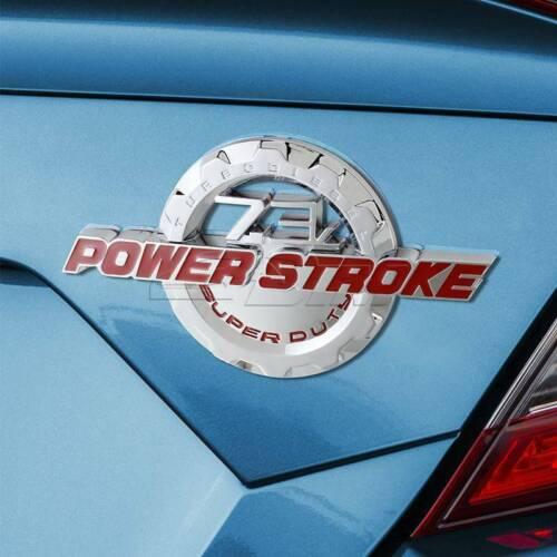 Red//Chrome 7.3L POWER STROKE Super Duty Fender Trunk Emblem Badge for Ford F350