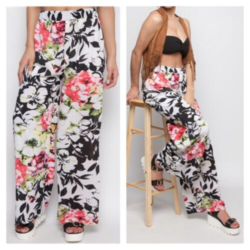 NEW WOMENS LADIES CASUAL SUMMER LOOK FLORAL HALF LINED FLARED PALAZZO TROUSERS