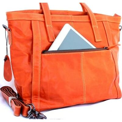 Genuine natural leather woman bag Vintage luxury tote Handbag Retro style orange