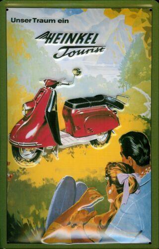 Heinkel Tourist Motorrad Blechschild Schild 3D geprägt Tin Sign 20 x 30 cm
